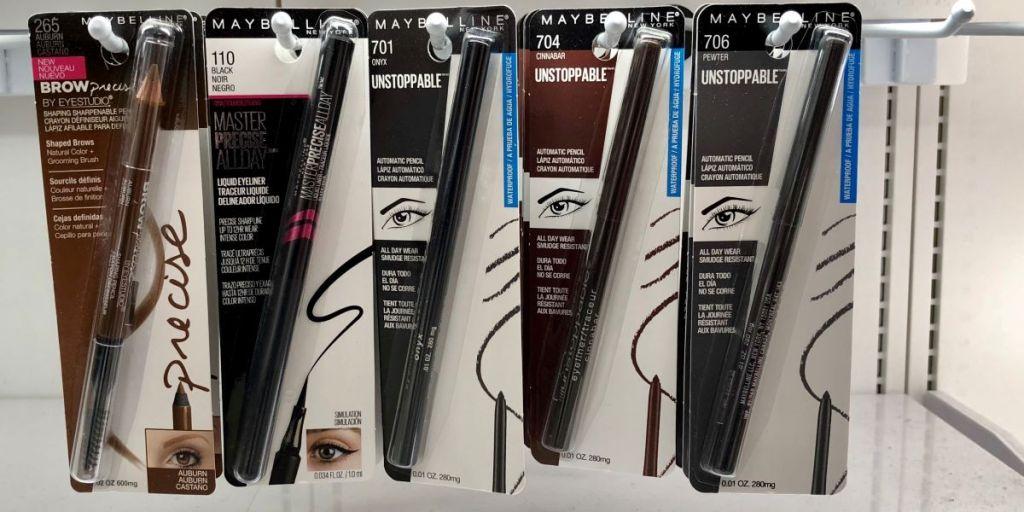 row of Maybelline eyeliners