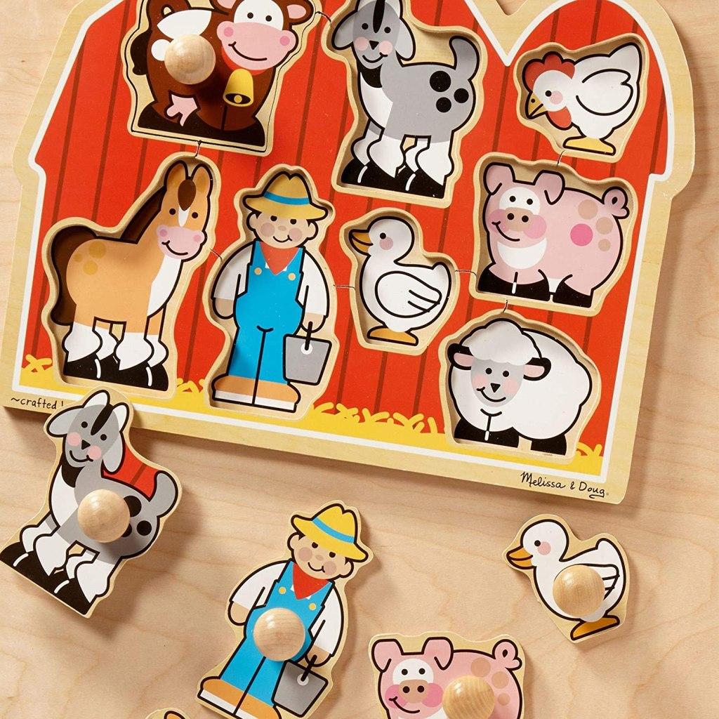 Melissa & Doug Farm Puzzle with pieces next to it