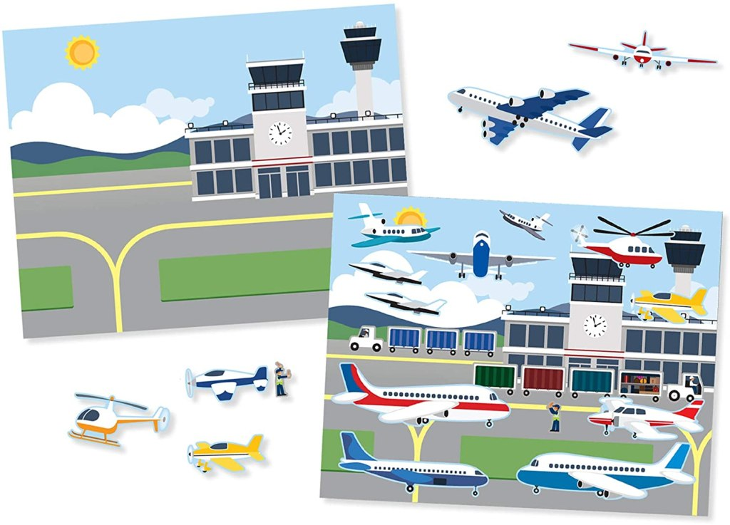 sticker set with airport background
