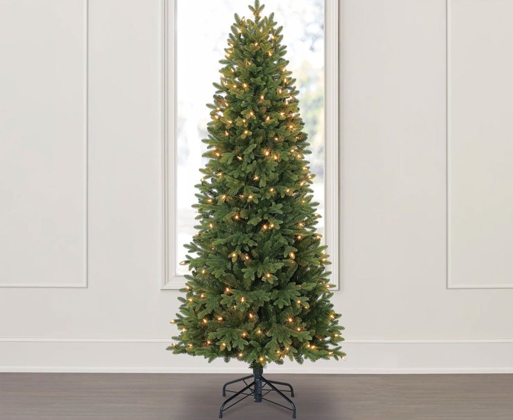 christmas tree with white lights in front of a window