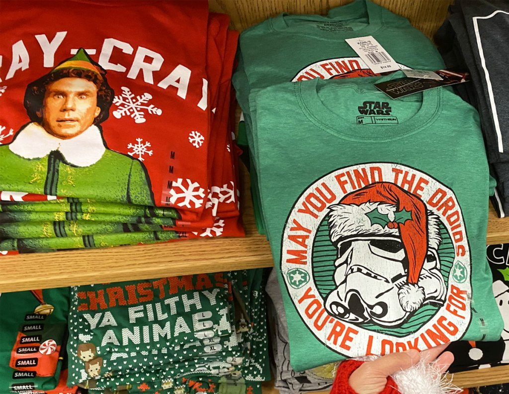 red buddy the elf and green storm trooper graphic christmas tees