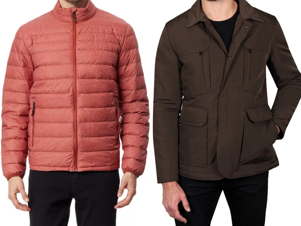 man in pink jacket and man in brown jacket