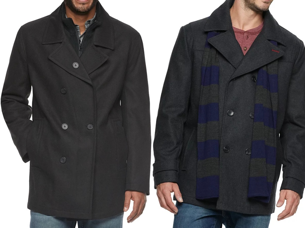 man in black peacoat and man in black peacoat and scarf