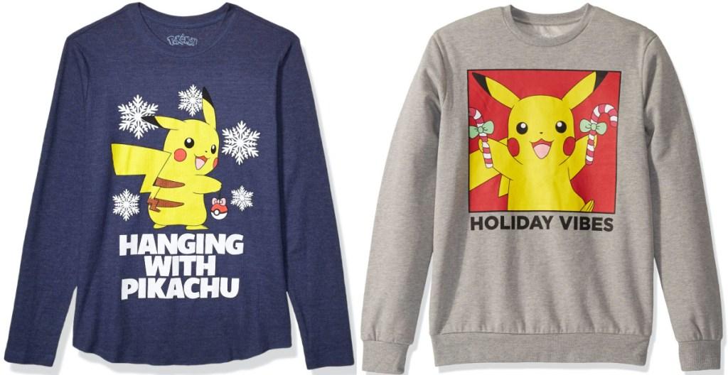 men's blue Pikachu Christmas long-sleeve tee and men's gray Pikachu Christmas sweatshirt