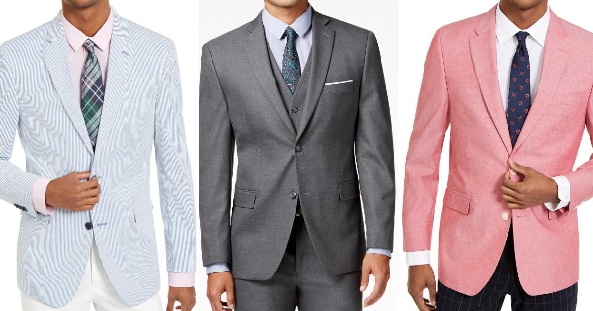 man in light blue striped sport coat, man in gray suit jacket, and man in light red sport coat