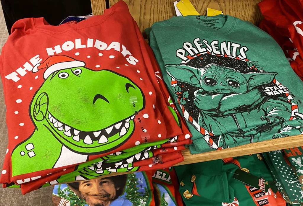red toy story rex and green baby yoda graphic christmas tees
