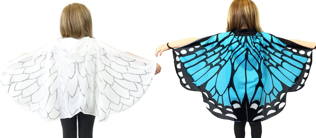 two girls wearing angel wings and butterfly wings printed capes
