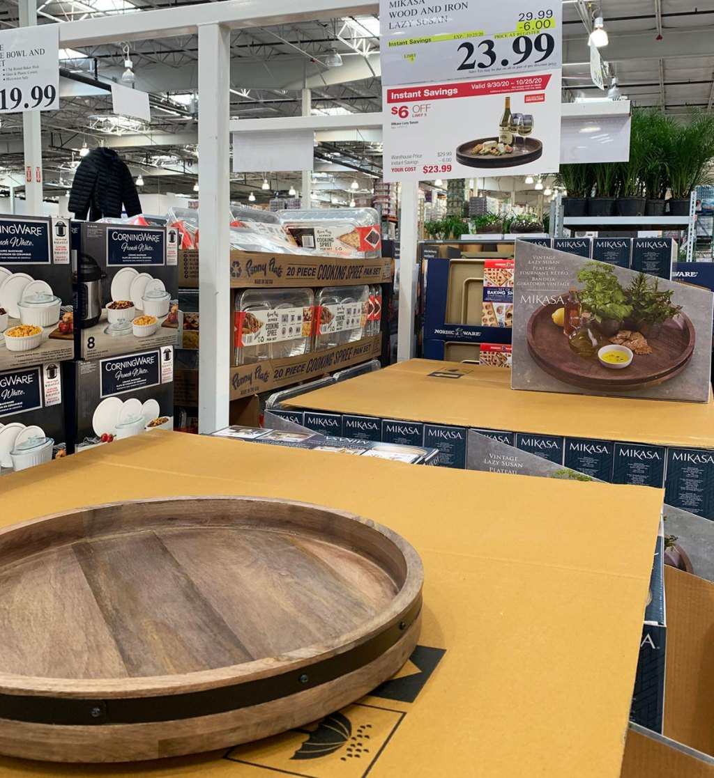 round wood lazy susan on display at Costco