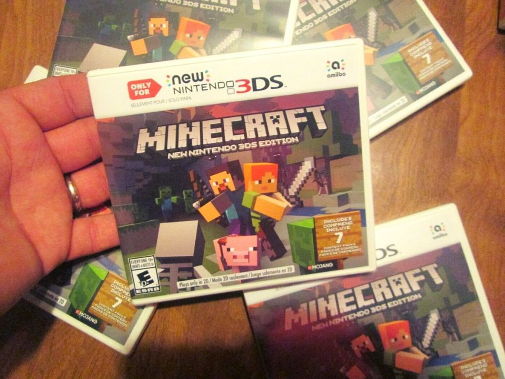 hand holding new Nintendo Minecraft game