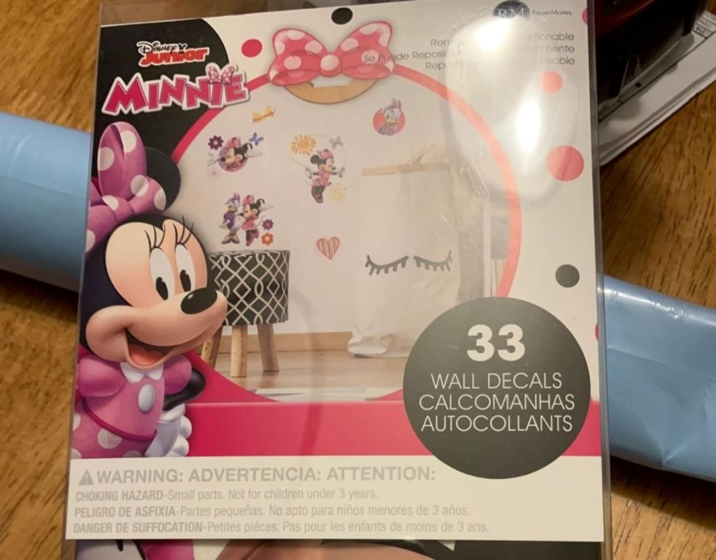 package of Minnie Mouse Wall decals