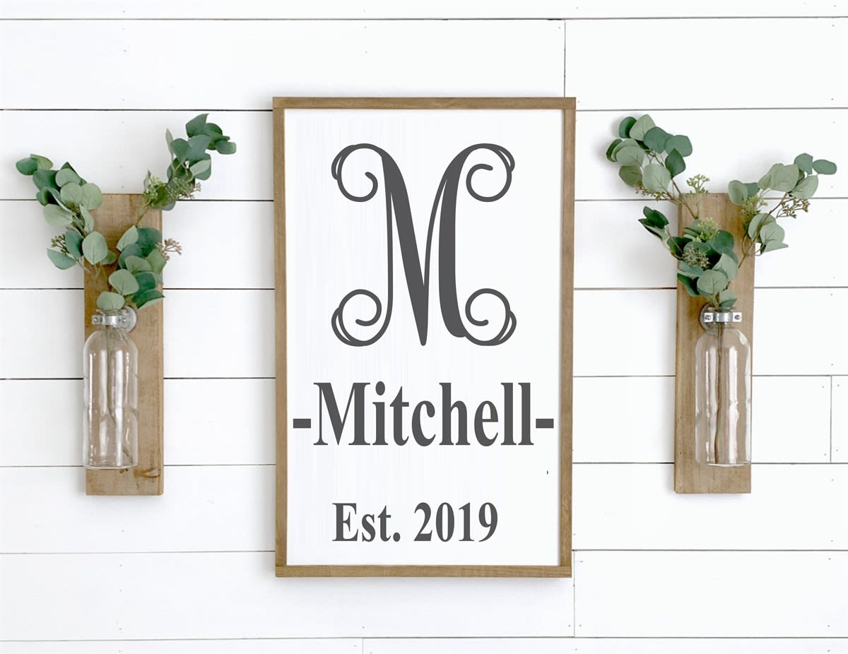 Mitchell Sign hanging on wall between two wall vases