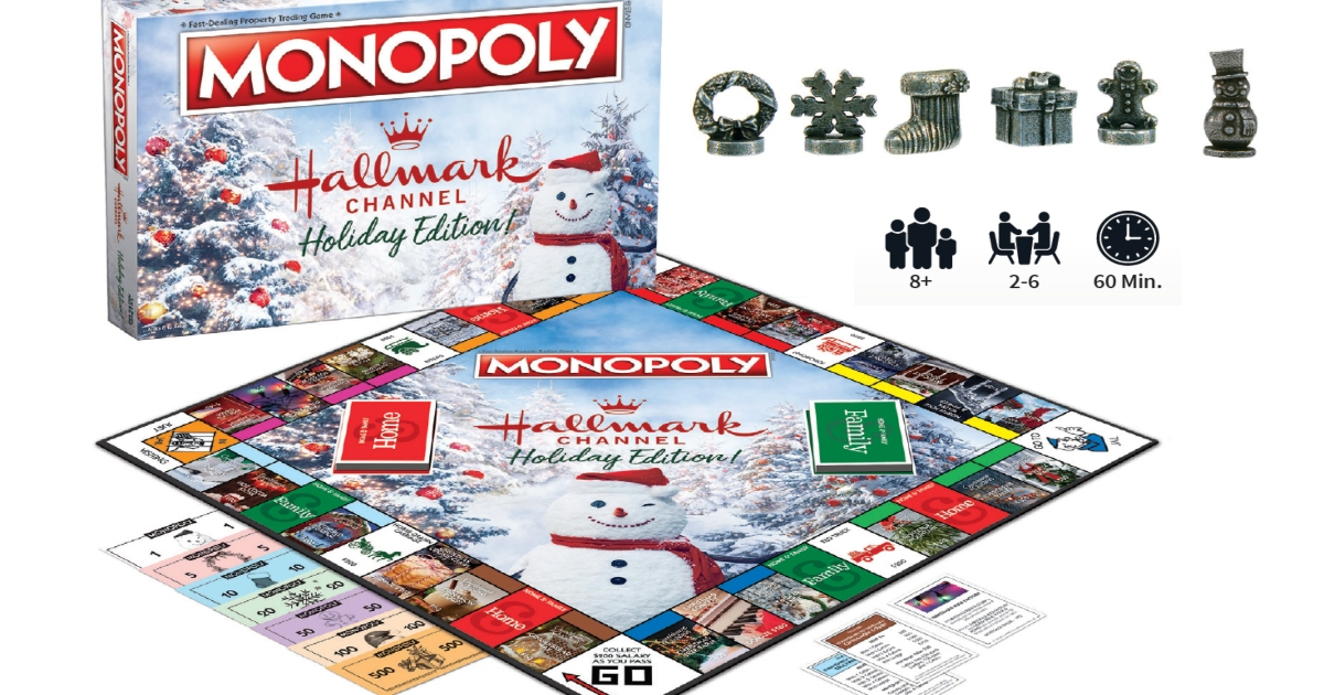 Hallmark Channel Holiday Edition Monopoly game set out with box and game pieces