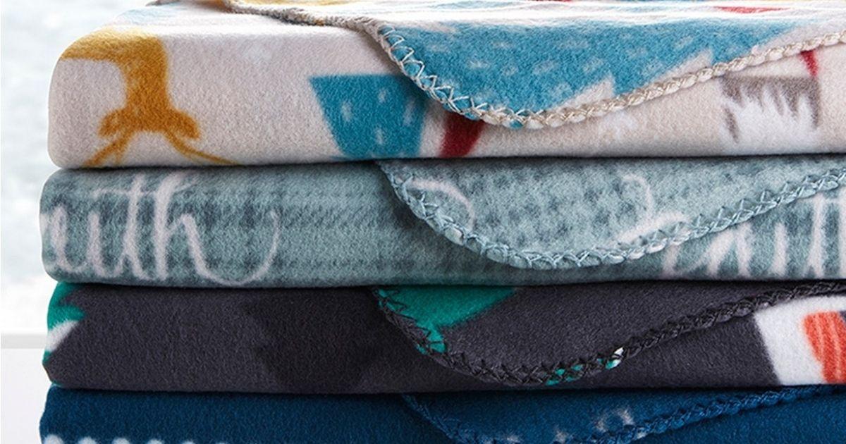folded holiday fleece throws