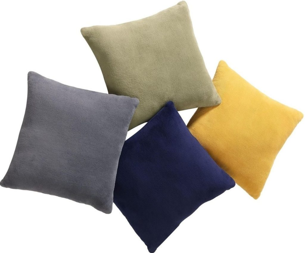four velvet throw pillows