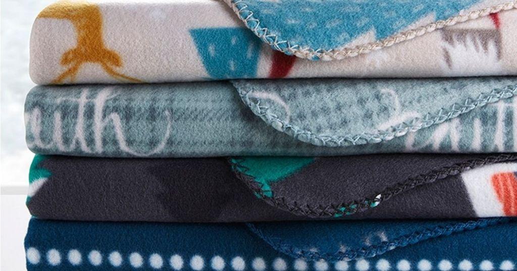 Four Morgan home winter fleece throws