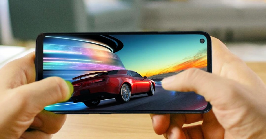 Moto G Fast Unlocked Smartphone with car on screen