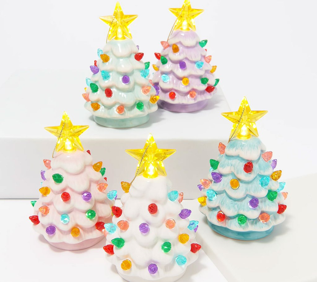set of 5 pastel colored mini ceramic tree ornaments with multi colored lights