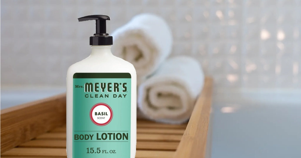 Mrs. Meyer's Clean Day Body Lotion Basil Scent, 15.5 oz Pump Bottle f