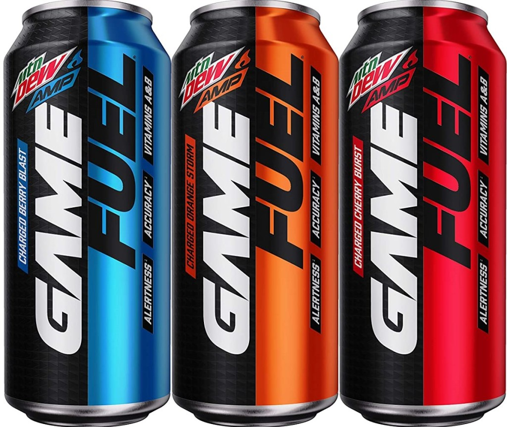 three cans of Mtn Dew Game Fuel
