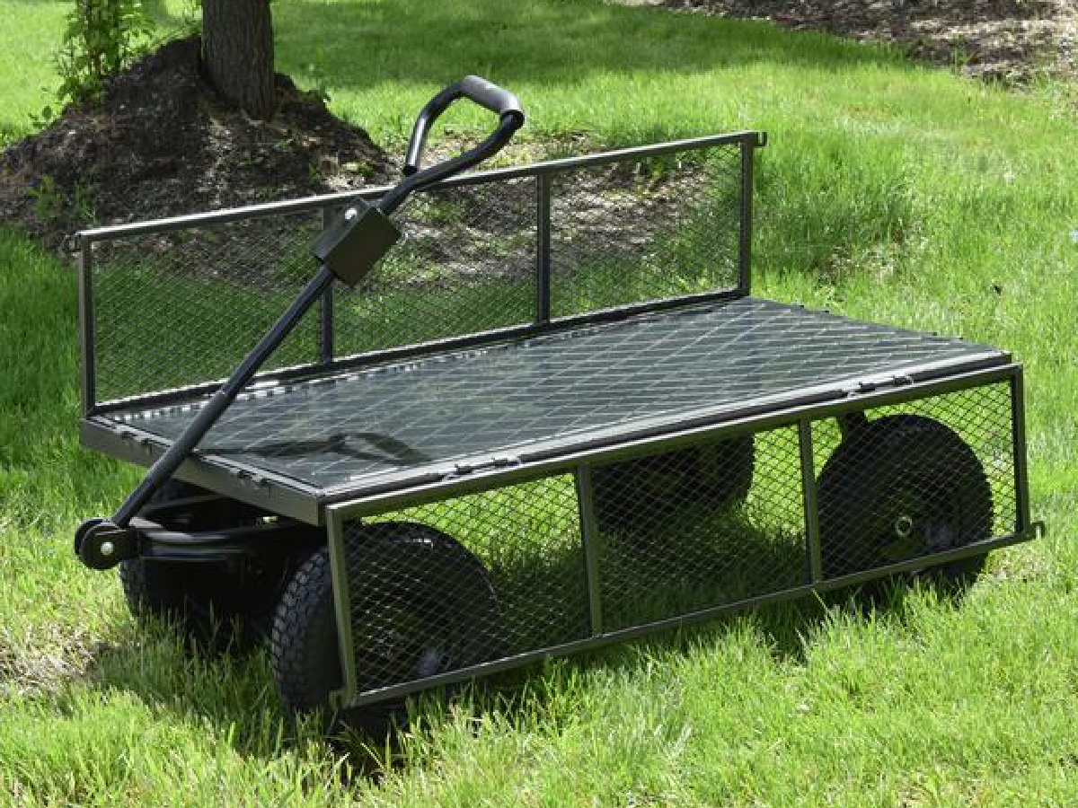 utility cart in grass