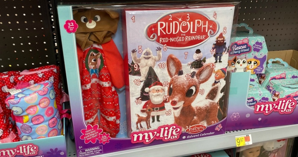My Life As Rudolph Advent Calendar shown in store on shelf