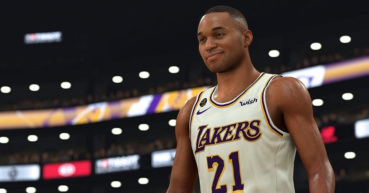 screenshot of a Lakers basketball player from the NBA video game