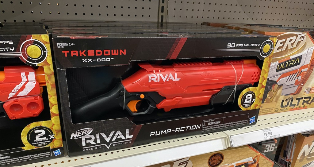 target shelf with NERF Rival Takedown Blaster