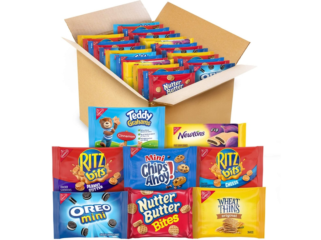 delivery box filled with snack and snack packs