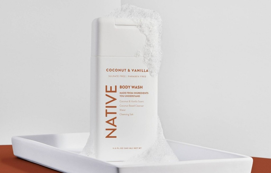 Native Body Wash with bubbles on it