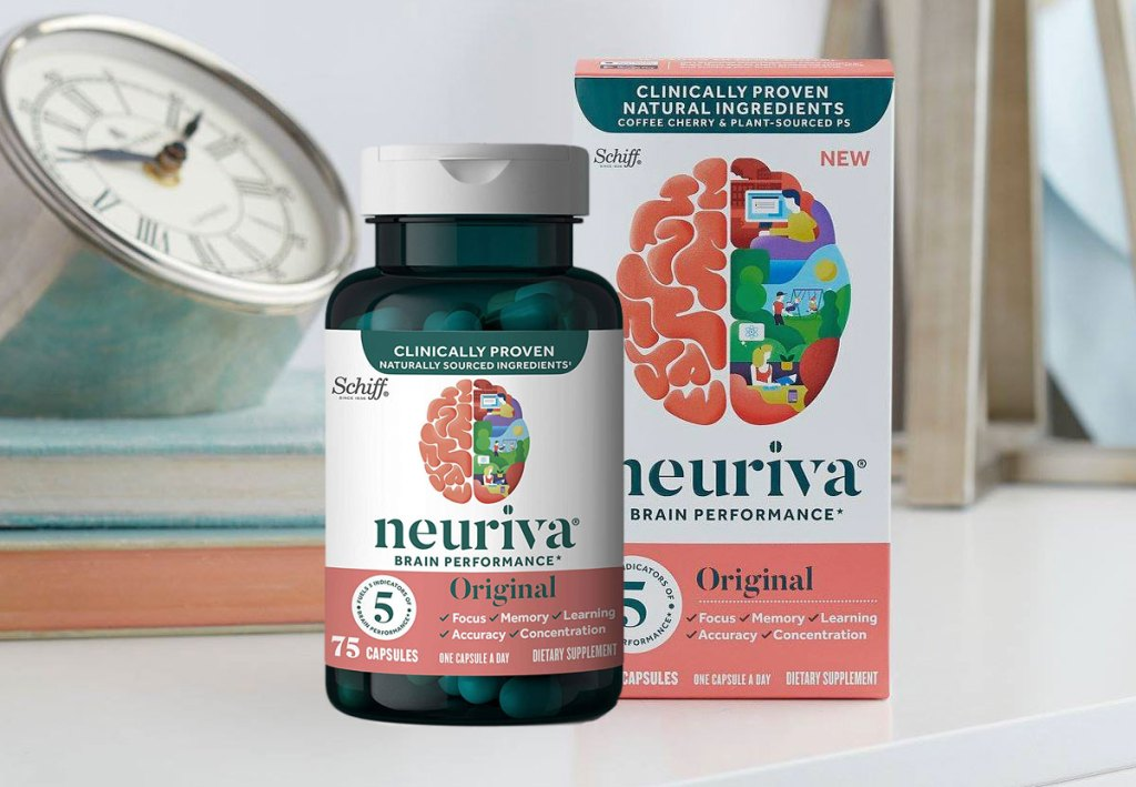 bottle and box of neuriva brain support supplement on white nightstand