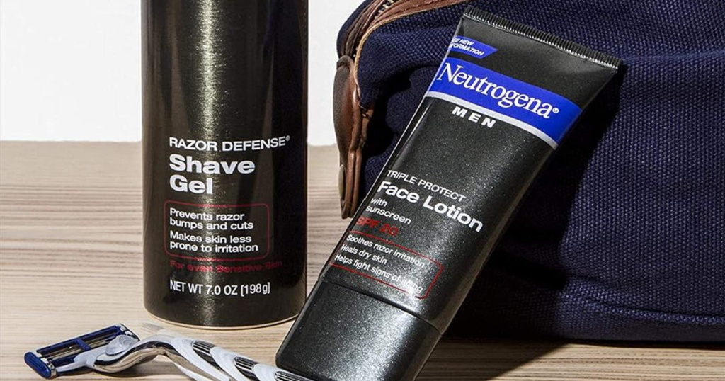 counter with Neutrogena Face Lotion next to other products