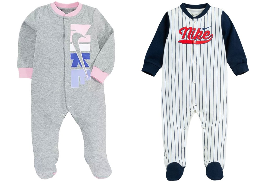 two nike baby onesies in grey and pink and baseball outfit print