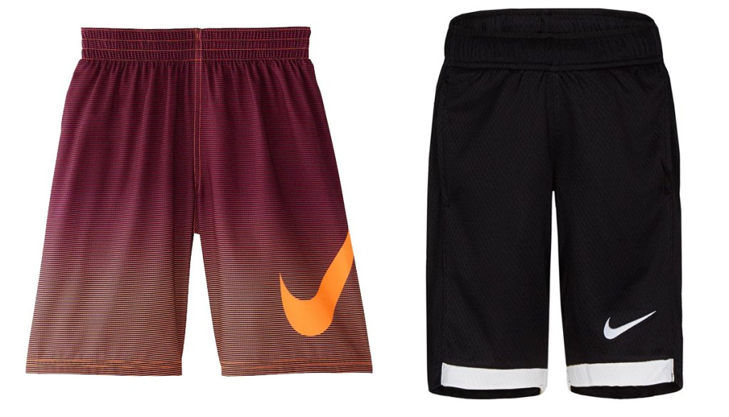 two pairs of nike boys shorts in red and black colors