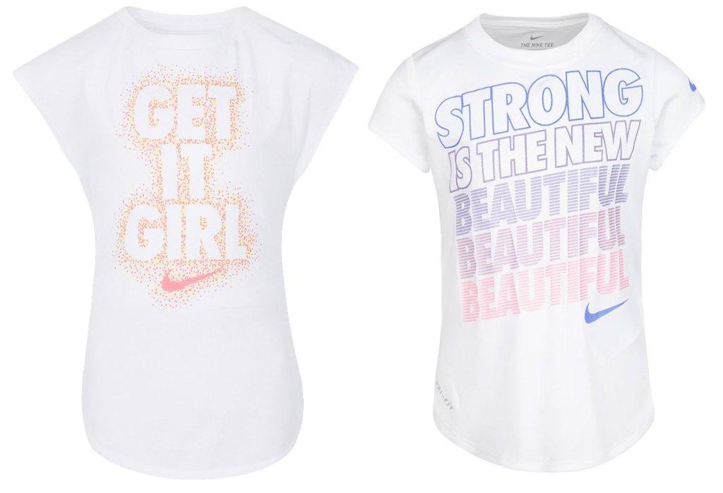 two white nike girls graphic shirts