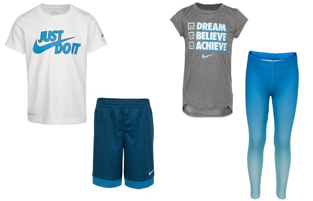 boys nike shirt and shorts set and girls shirt and leggings set