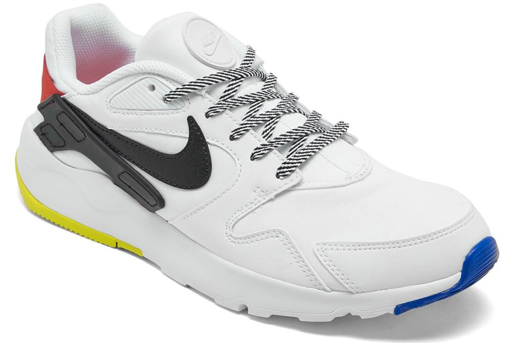 men's nike shoe in white with black nike logo on side