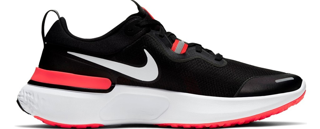 black, white and red Nike running shoe