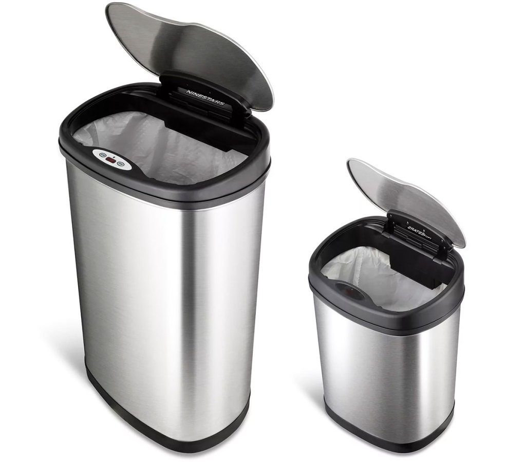 full size and bathroom size stainless steel sensor trash cans with their lids open
