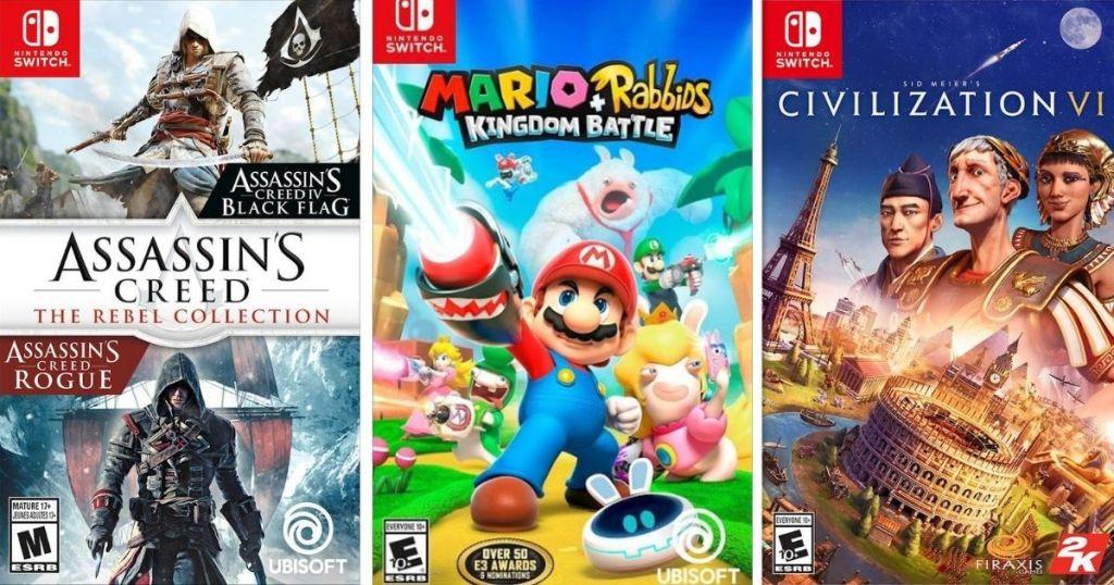 three Nintendo Switch game cases