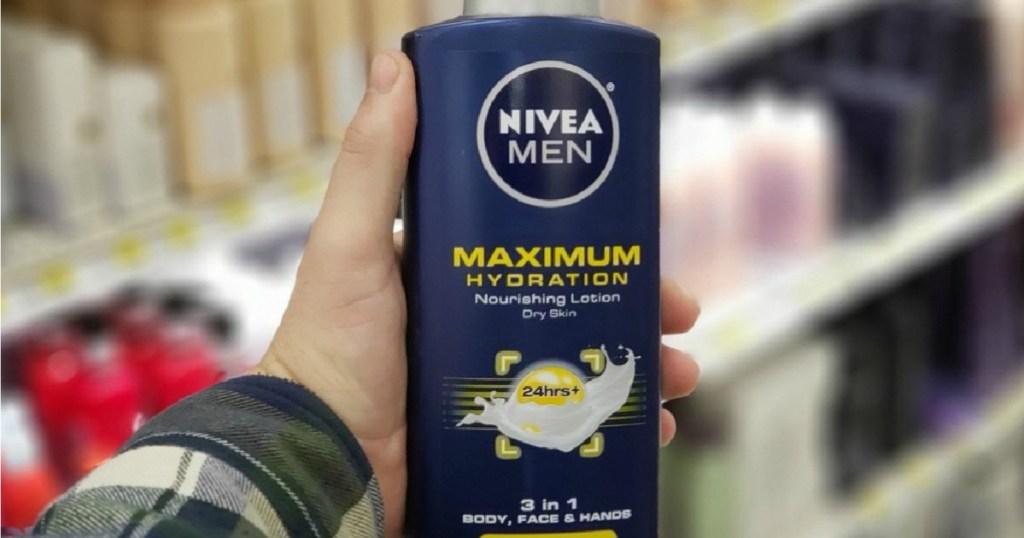 hand holding Nivea Men Lotion