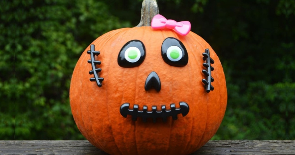 large pumpkin decorated with a no crave pumpkin kit