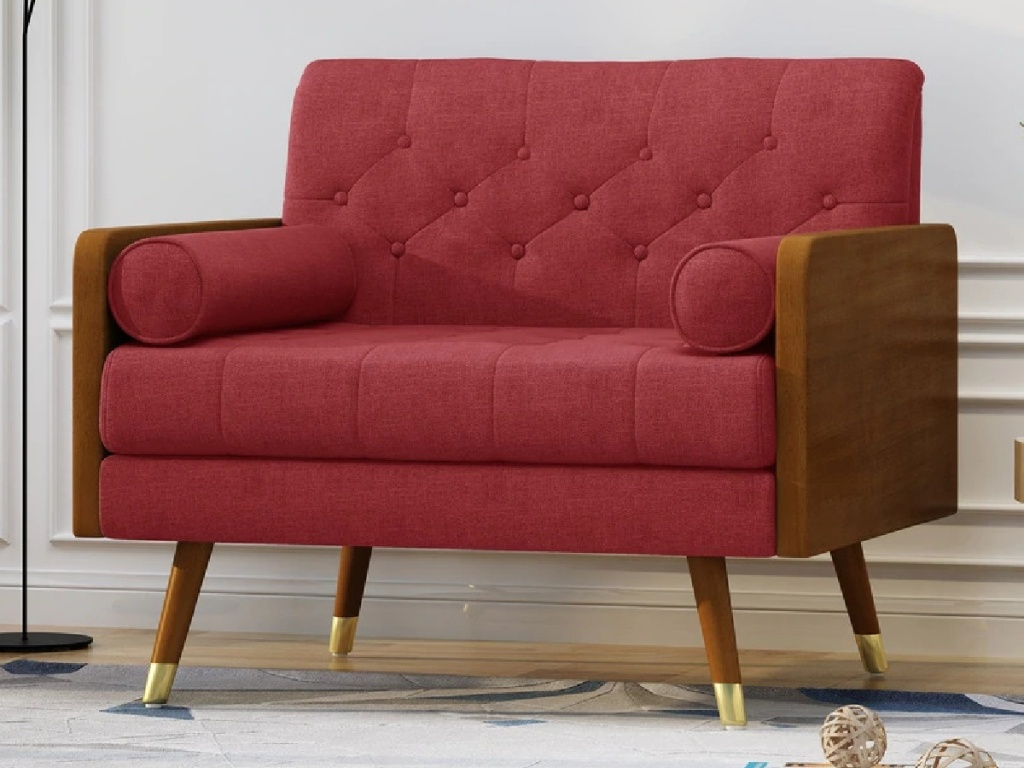 red club chair in home