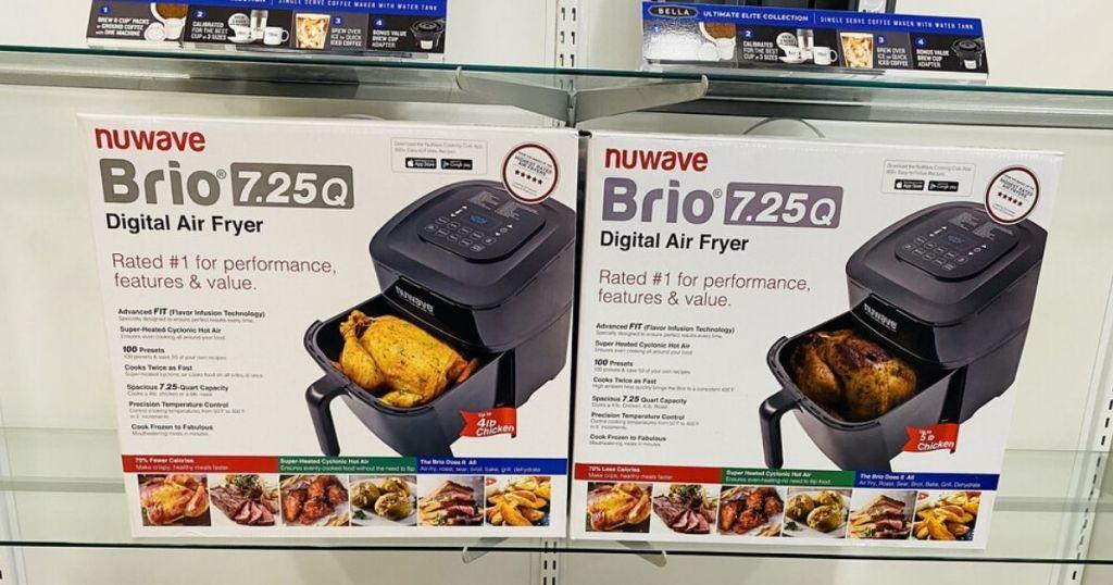 Nuwave Brio Digital Air Fryer boxes on store shelf