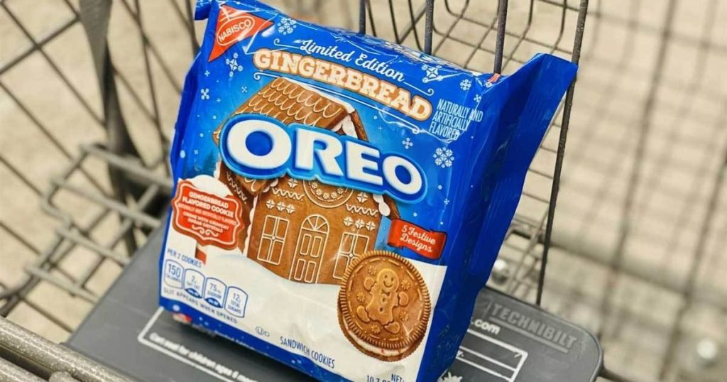 OREO Gingerbread cookies in a shopping cart