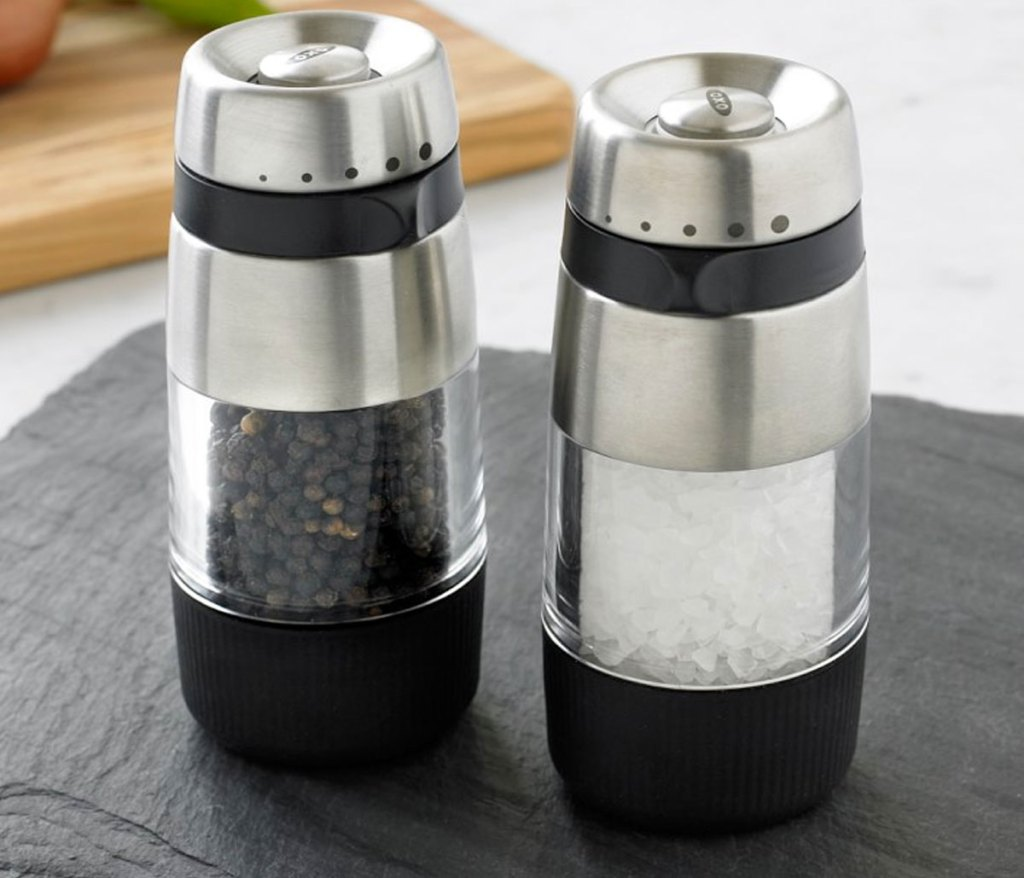 salt and pepper grinder set on kitchen counter