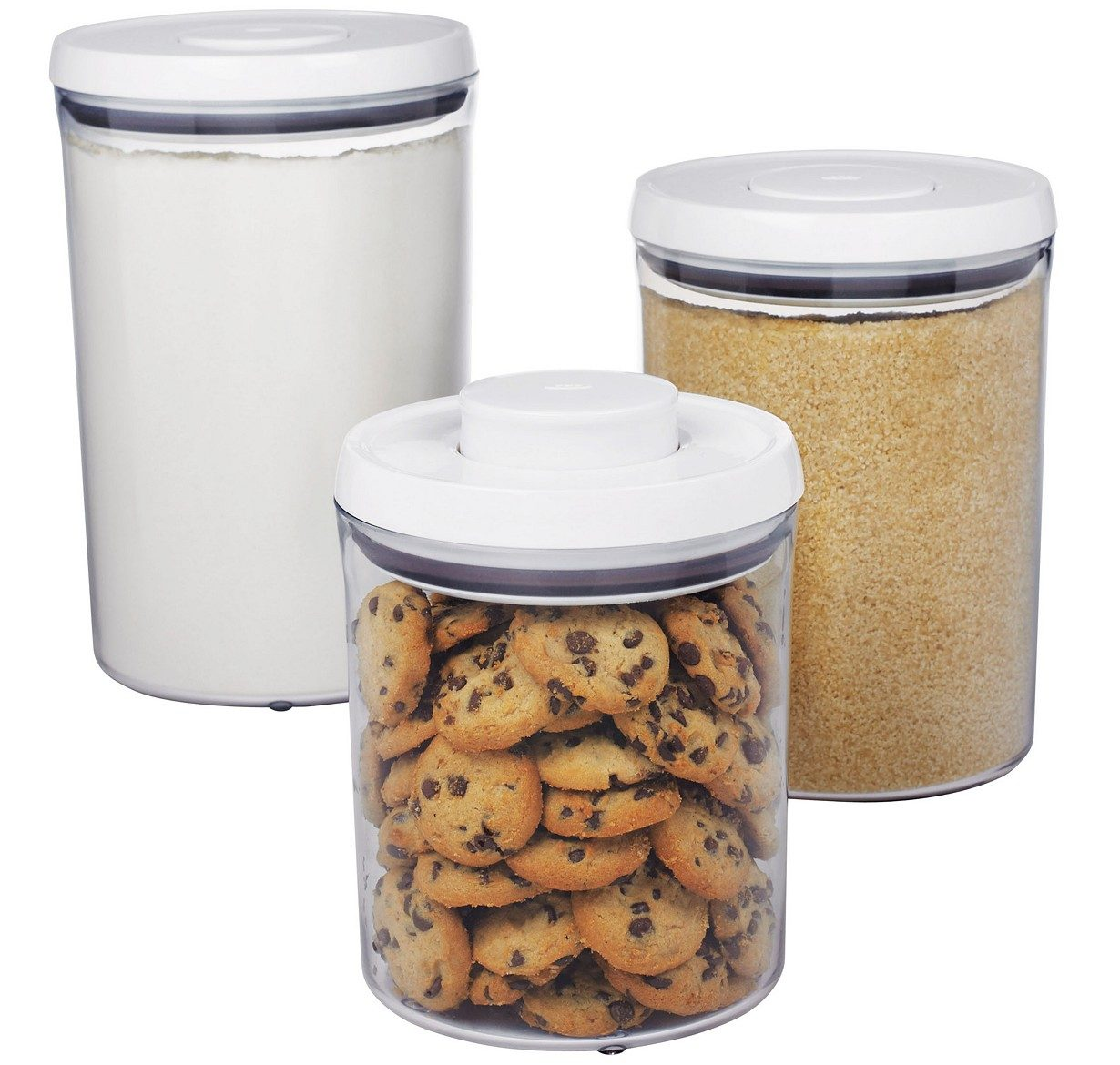 OXO round containers3 pieces with food in them