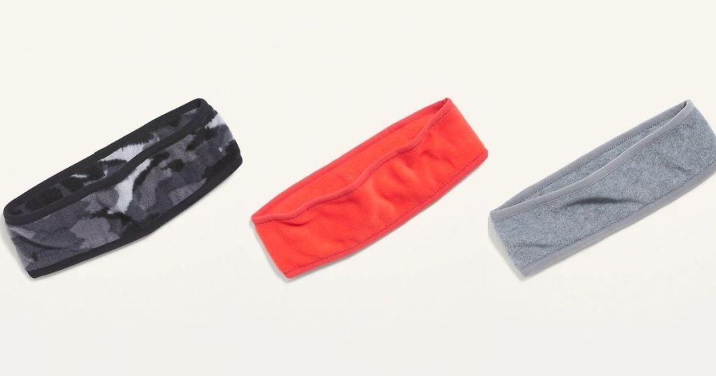 Old Navy headbands in camo peach gray