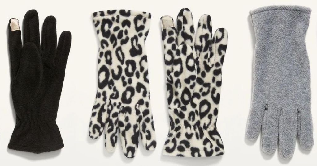 Old Navy print gloves in leopard gray and black