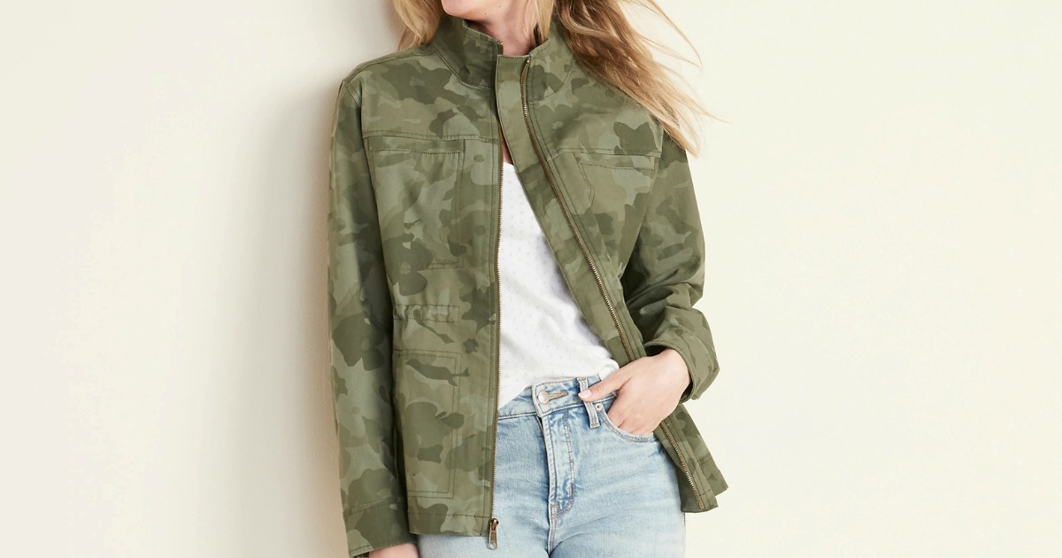 Woman wearing a camo colored denim jacket