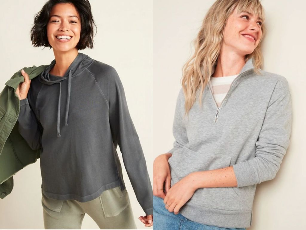 women wearing different styles of gray sweatshirts